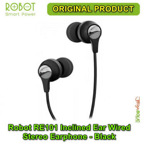 Robot RE101 Inclined Ear Wired Stereo Earphone – Black 01