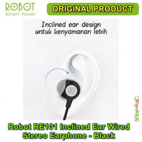 Robot RE101 Inclined Ear Wired Stereo Earphone – Black 03