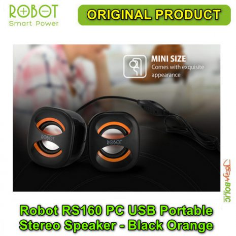 Robot RS160 PC USB Portable Stereo Speaker – Black Orange 02