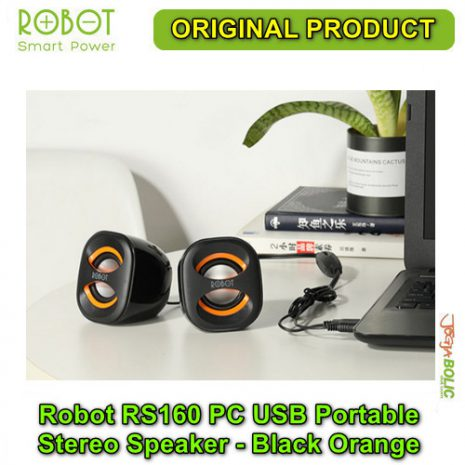 Robot RS160 PC USB Portable Stereo Speaker – Black Orange 04