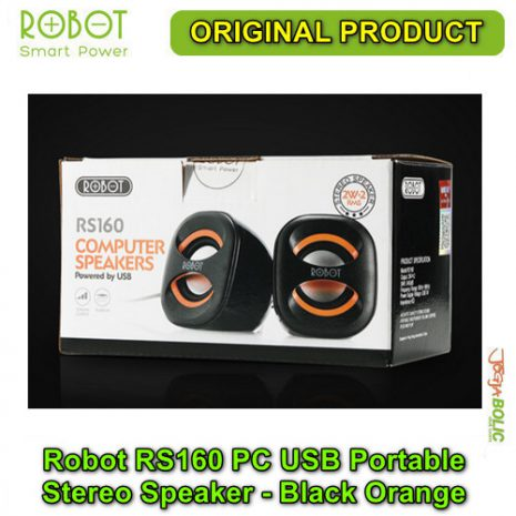 Robot RS160 PC USB Portable Stereo Speaker – Black Orange 05