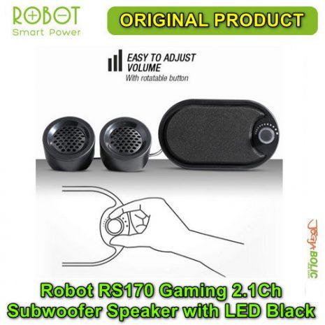 Robot RS170 Gaming 2.1Ch Subwoofer Speaker with LED – Black 03