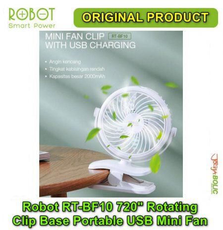Robot RT-BF10 720 degree Rotating Clip Base Portable USB Mini Fan 01