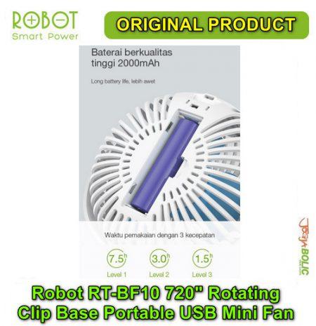 Robot RT-BF10 720 degree Rotating Clip Base Portable USB Mini Fan 04