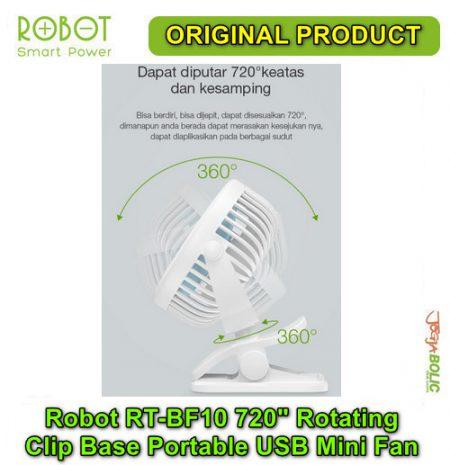 Robot RT-BF10 720 degree Rotating Clip Base Portable USB Mini Fan 05