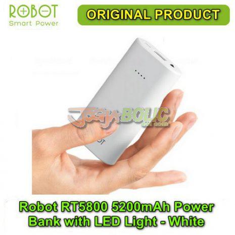 Robot RT5800 5200mAh Power Bank with LED Light – White 01