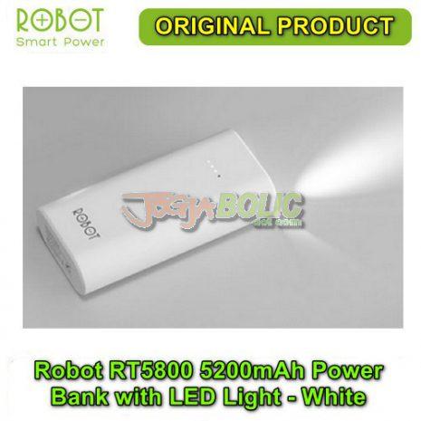Robot RT5800 5200mAh Power Bank with LED Light – White 02