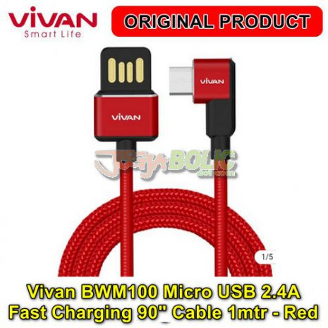 Vivan BWM100 Micro USB 2.4A Fast Charging 90 degree Cable 1mtr – Red 01