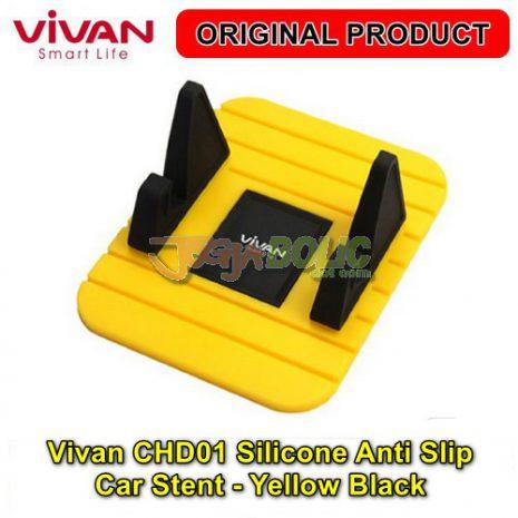 Vivan CHD01 Silicone Anti Slip Car Stent – Yellow Black 01
