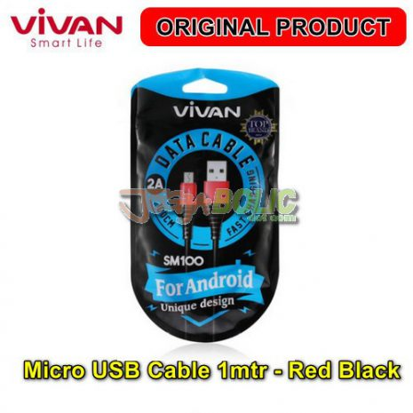 Vivan SM100 Micro USB Cable 1mtr – Red Black 05