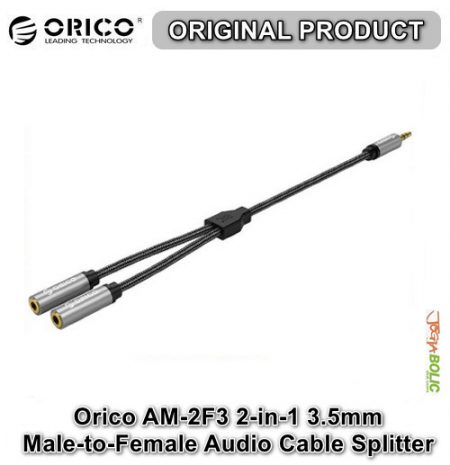 Orico AM-2F3 2-in-1 3.5mm M-to-F Audio Cable Splitter – Black 01