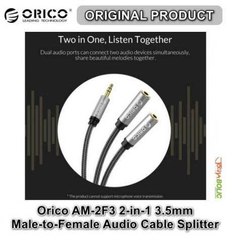Orico AM-2F3 2-in-1 3.5mm M-to-F Audio Cable Splitter – Black 02
