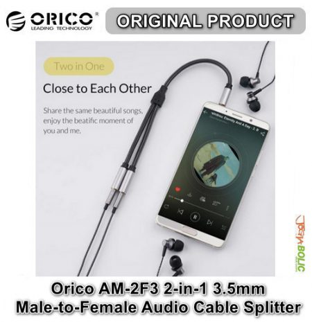 Orico AM-2F3 2-in-1 3.5mm M-to-F Audio Cable Splitter – Black 03