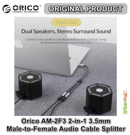 Orico AM-2F3 2-in-1 3.5mm M-to-F Audio Cable Splitter – Black 04