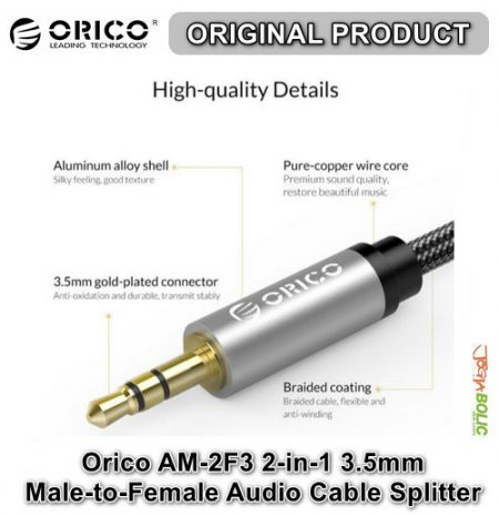 Orico AM-2F3 2-in-1 3.5mm M-to-F Audio Cable Splitter – Black 05