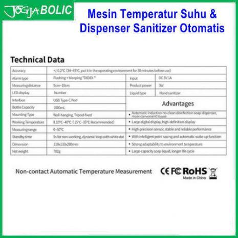 Mesin Temperatur Suhu & Dispenser Sanitizer Otomatis e